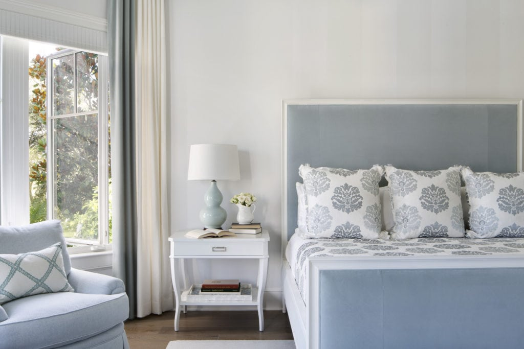Master Bedroom with Blue Upholstered Headbo