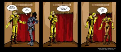 comic strip about gendered clothes in WoW