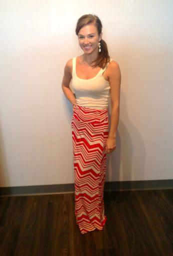 Beautiful Red and Cream Maxi Skirt 28.00