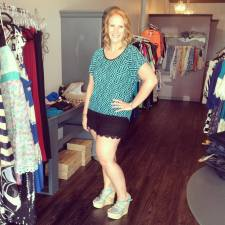 We love this outfit! Mint and black top (34$) with our black lace shorts (32$) both available in sizes 1XL- 3XL. Paired with our turquoise cork wedges (32$).