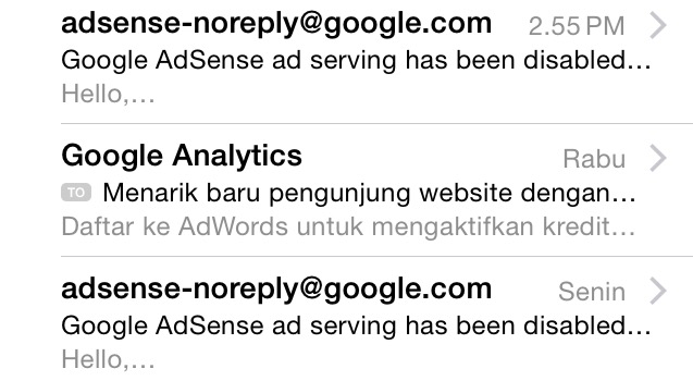 Google AdSense ad serving has been disabled to your site!