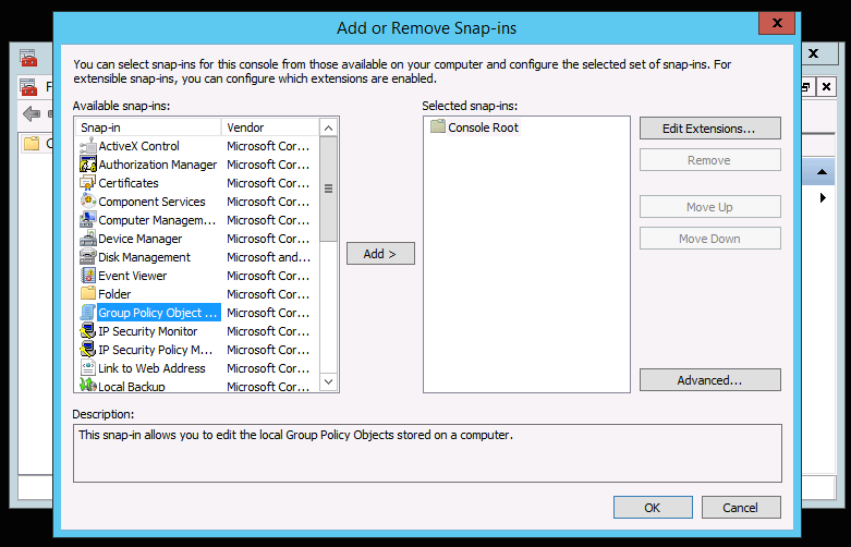 Group Policy Object Snap-ins