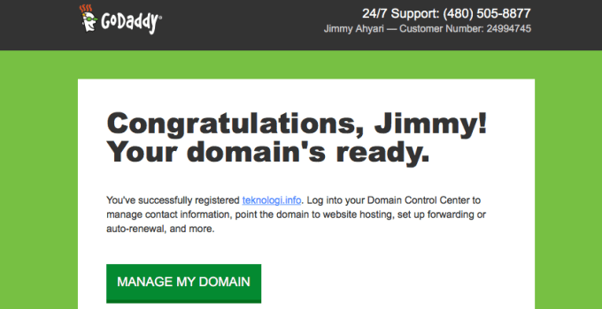 Congrats Your domains ready