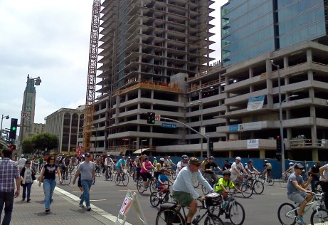 Pedestrians and bicyclists take over Wilshire Boulevard during a recent CicLAvia