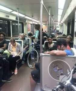 heading down to CicLAvia on the Red Line