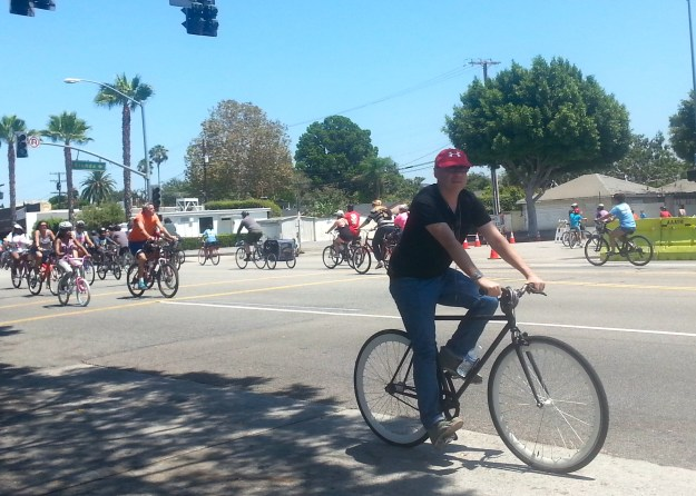 Cyclists at CicLAvia Sunday, August 9, 2015