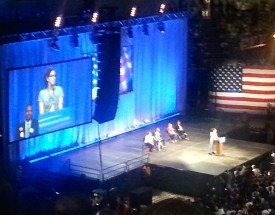 Sarah Silverman warms up the crowd.