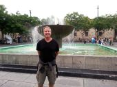 Dave in front of one of the plaza fountains.