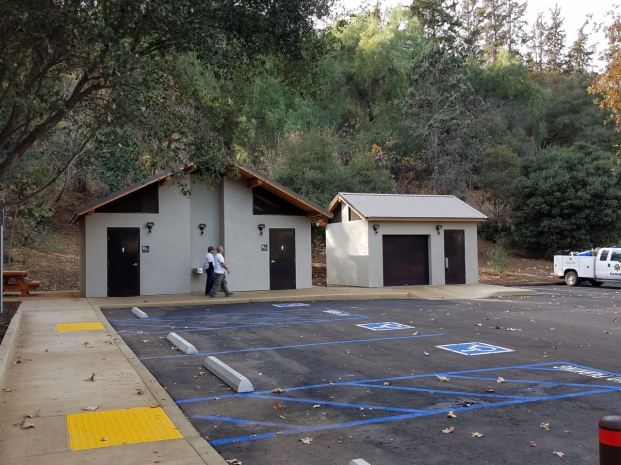 oh look, new bathrooms at Wilacre Park. Gone are the portapotties.