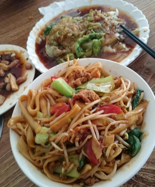 1853 Lunch - Noodles and Stir Fried Lettuce