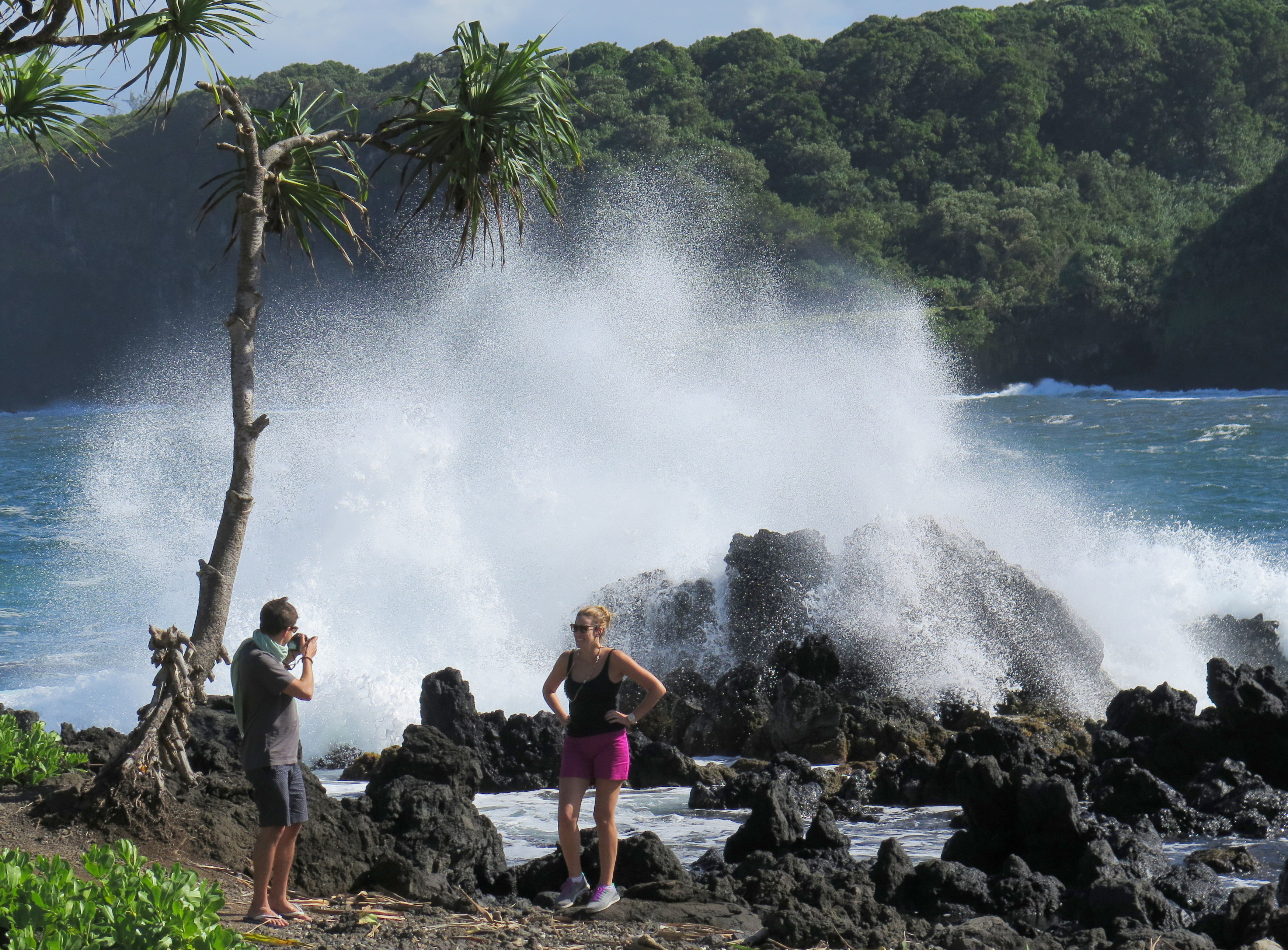 A walk along the rocks on the Ke'Anae peninsula is a magical part of a trip to Hana. There's also a great banana bread stand nearby.