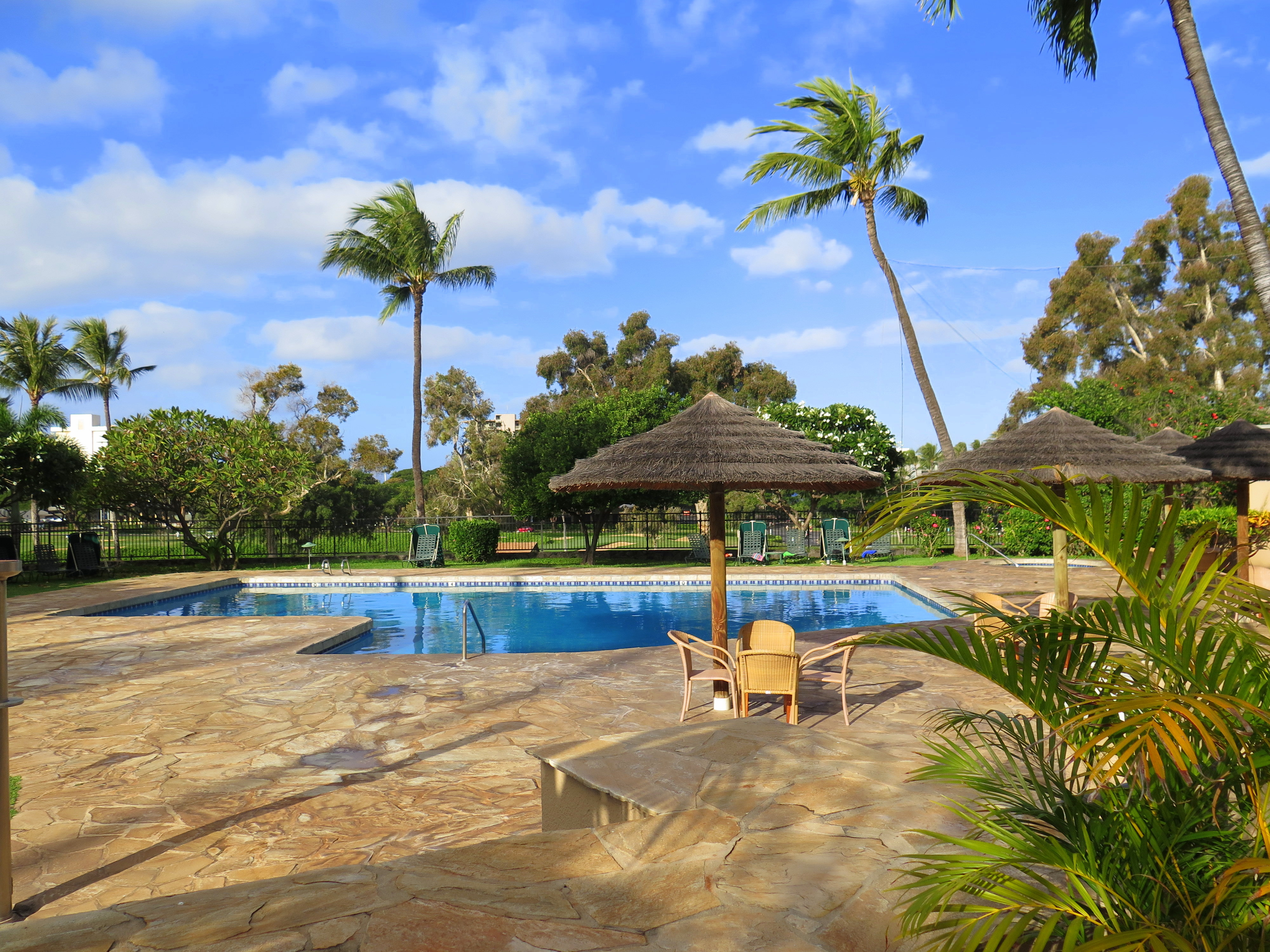 Kaanapali Royal condos offer a great pool and hot tub complex. You'll also find gas barbeques, a great way to save on your food bill.