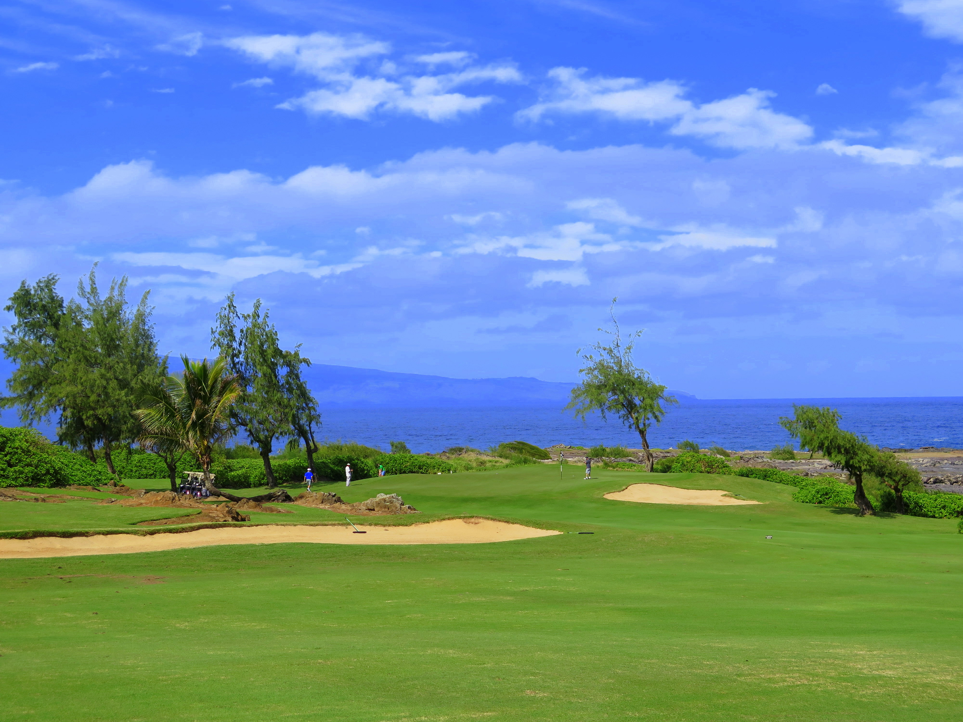 Hole number four on the Bay Course at Kapalua is a tricky par four with lovely views of the ocean and the island of Molokai.