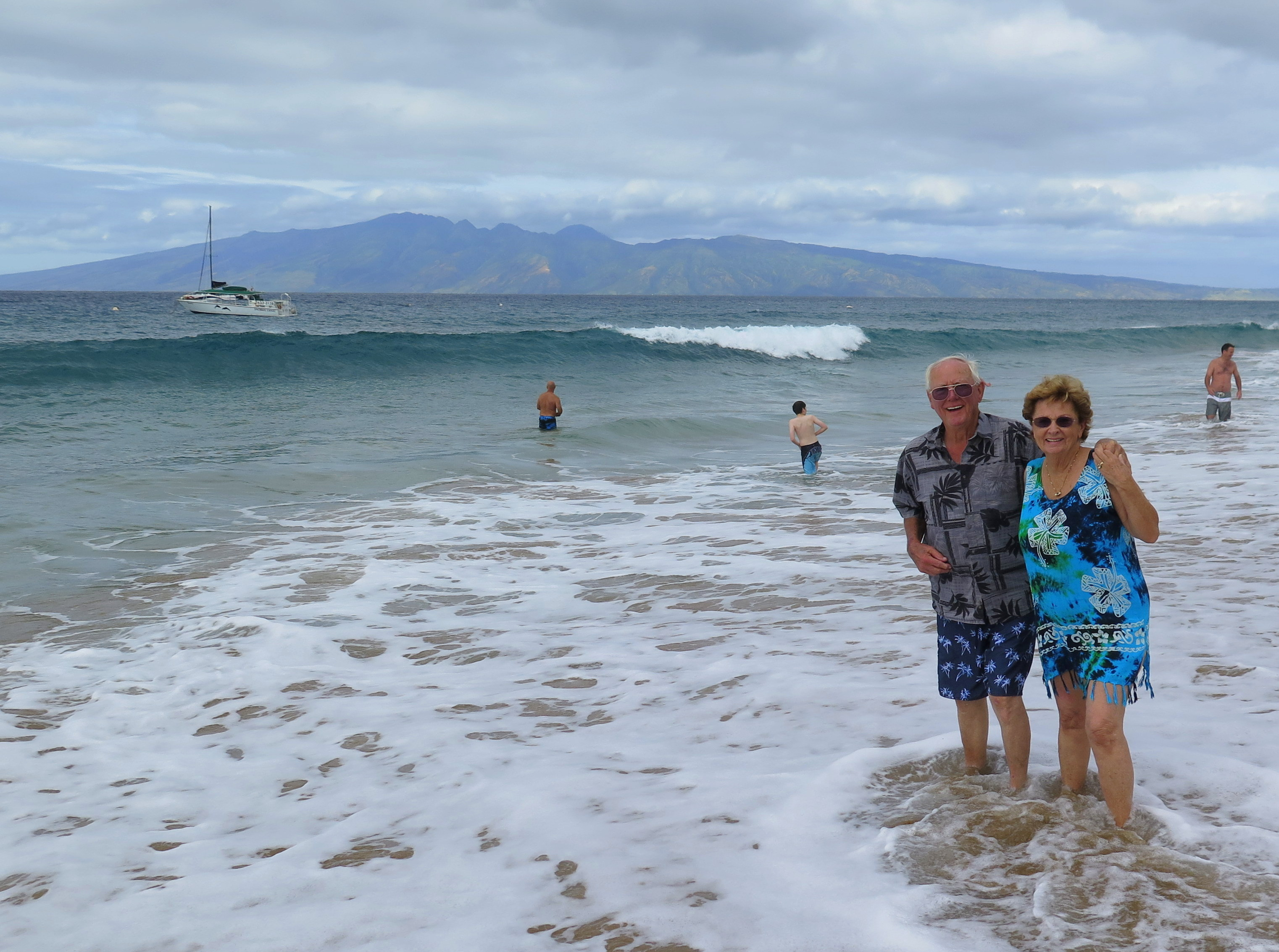 Kaanapali Beach is great for bodysurfing and snorkelling, or just watching the waves. That's my Dad and his friend, Lucy.