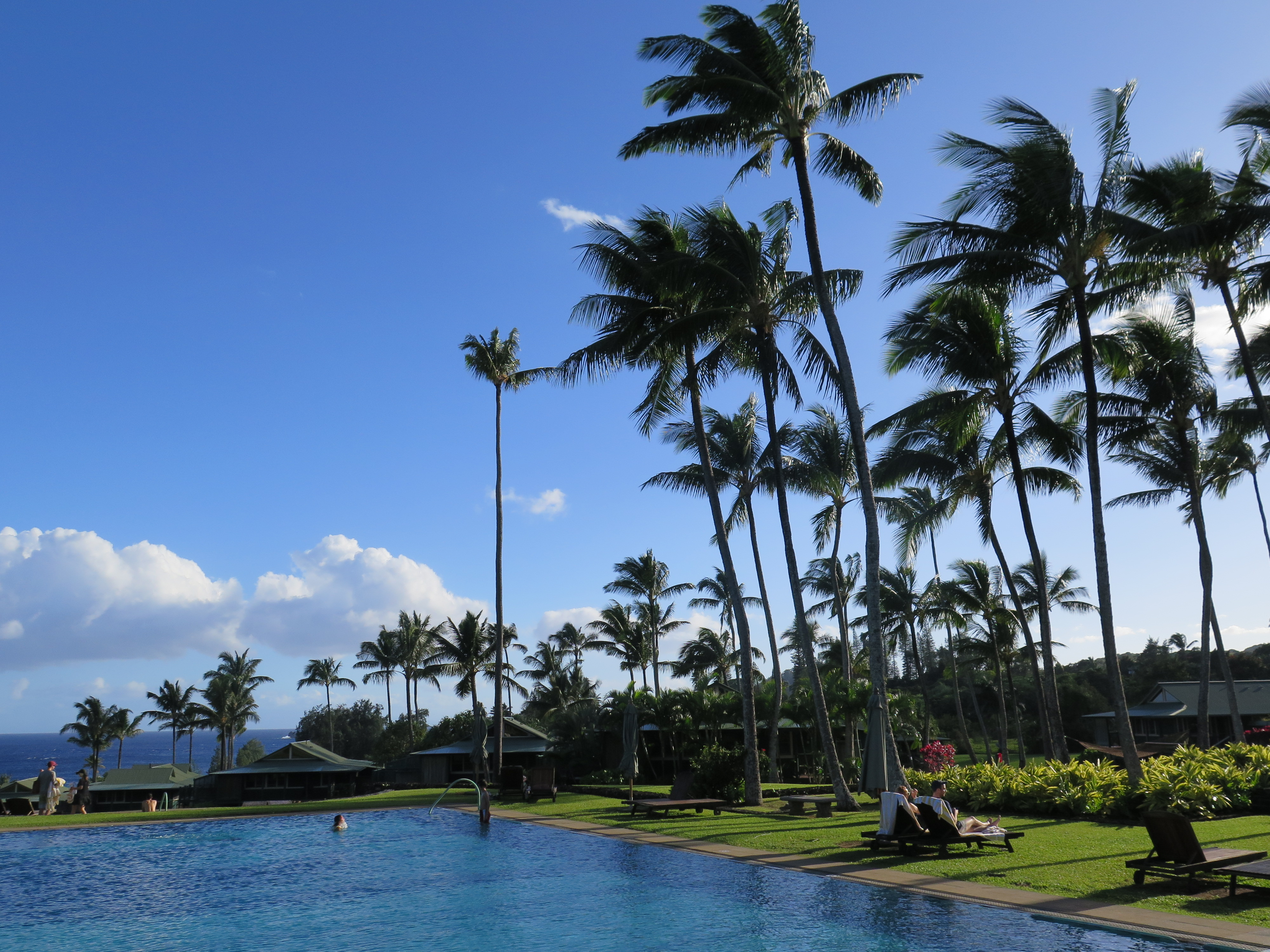 The main pool at the Travaasa Hana Resort is a simple but elegant affair that exudes a strong sense of Hawaii.