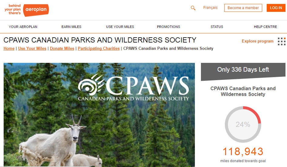 Aeroplan member donation program  CPAWS Canadian Parks and Wilderness Society - Google Chrome 2016-07-26 40503 PM