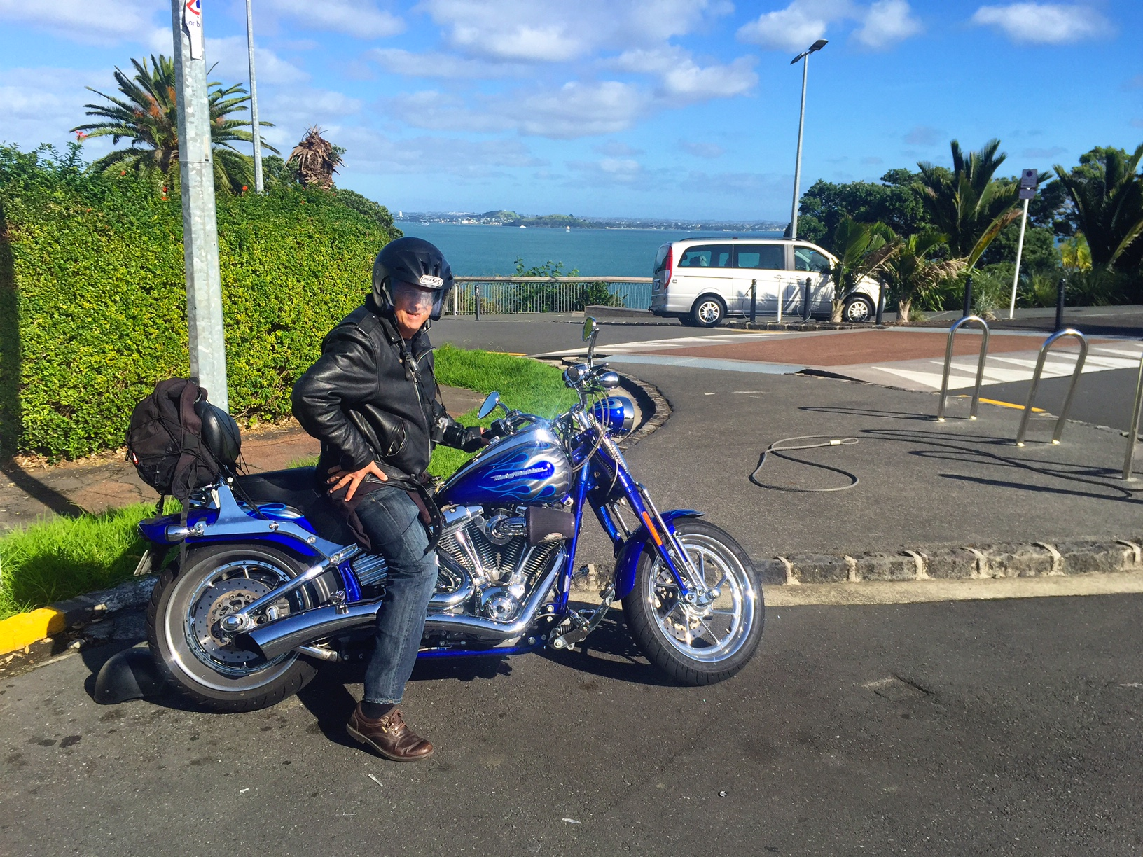 Leather is probably not my look, but I loved my Harley-Davidson ride in Auckland, New Zealand.