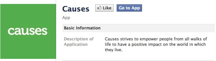 Photo: The Facebook Cause Application.