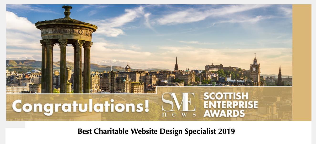 SME Award: Best Charitable Website Design Specialist 2019 - Scottish Enterprise Awards