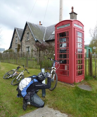 Scottish public telephone, Highlands of Scotland, bicycling Scotland, Skedaddle Daddle tours, Jim Caldwell Redondo Beach photography, Scottish Photography