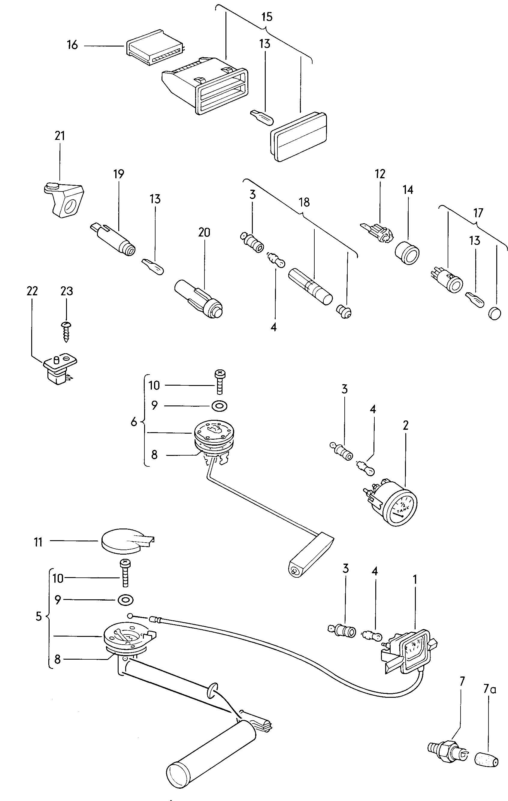 Volkswagen Beetle Fuel Gauge Sender Oil Pressure Switch Warning Light For Dual Circuit Brake