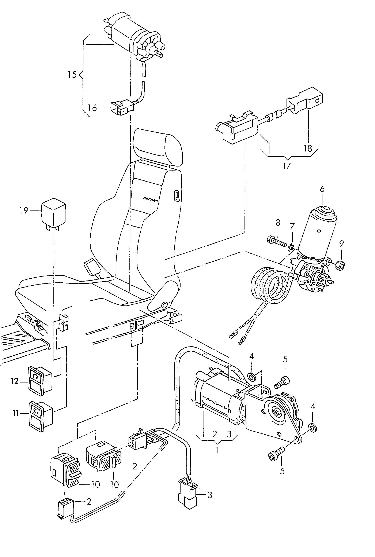 Volkswagen Corrado Electrical Parts For Seat And Backrest Adjustment