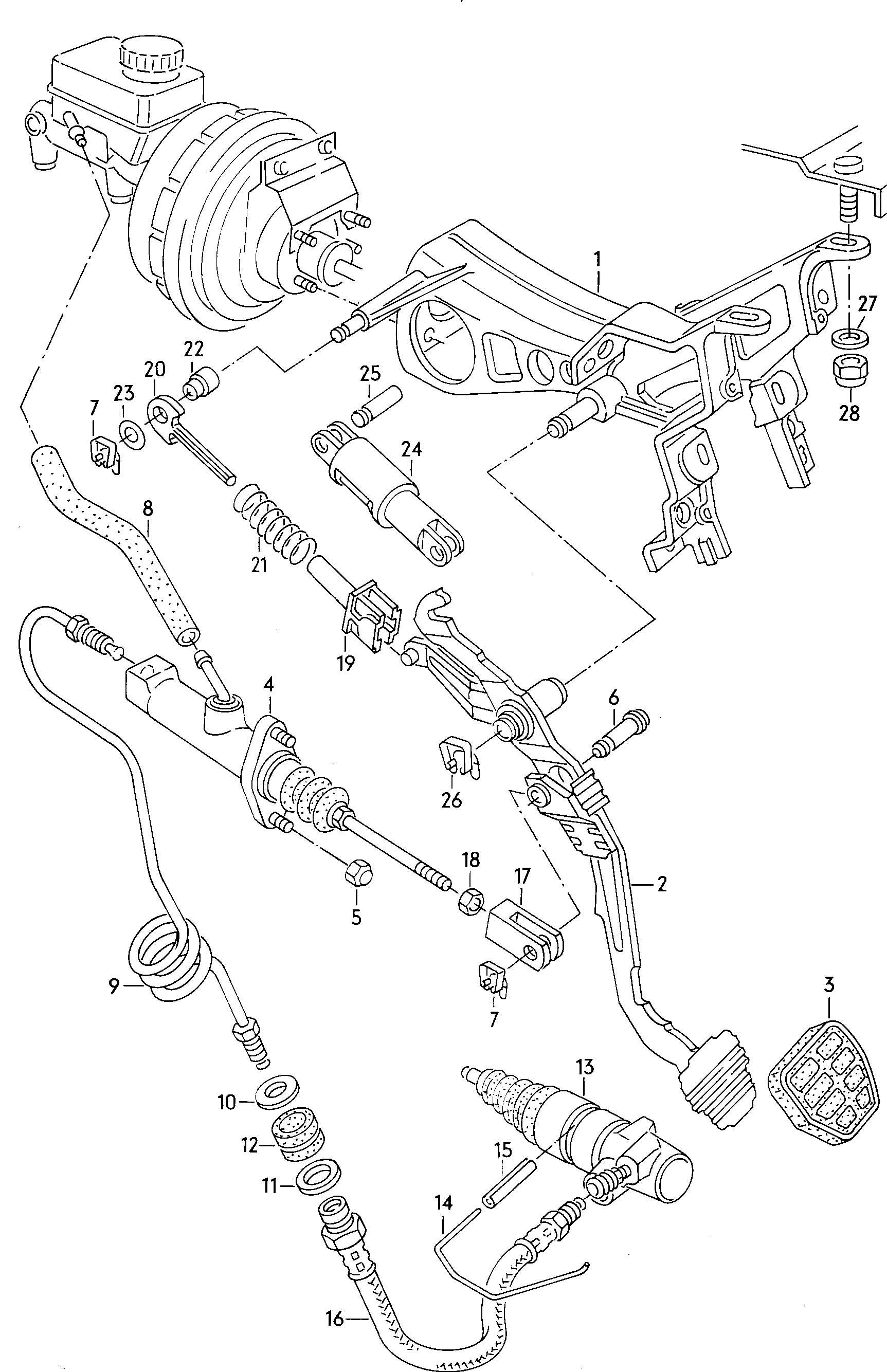 Volkswagen Quantum Bracket For Pedal Cluster Brake And Clutch Pedals Cluster Clutch Pedal For