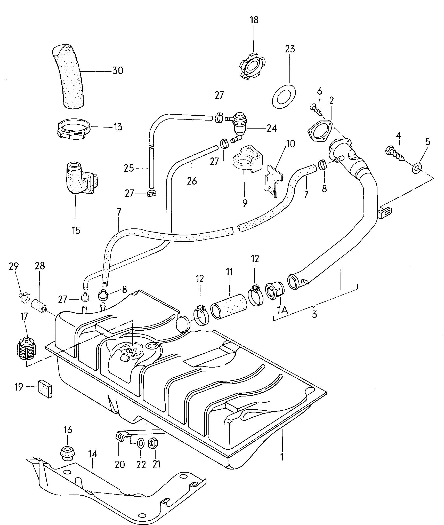 Volkswagen Pickup Fuel Tank Gravity Valve Vent Hose