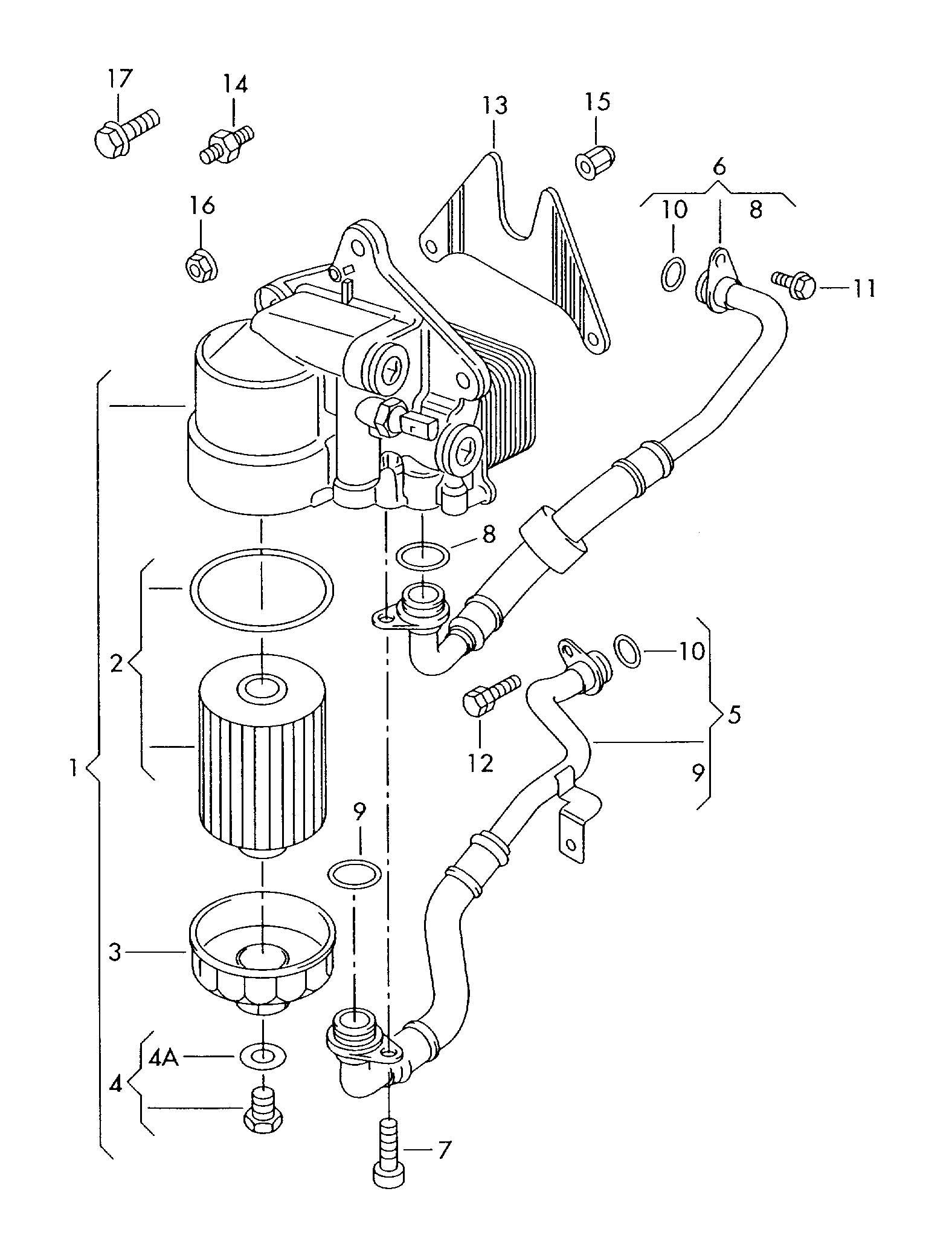 Volkswagen Passat 4 0l W8 8 Cylinder Oil Cooler Oil Filter
