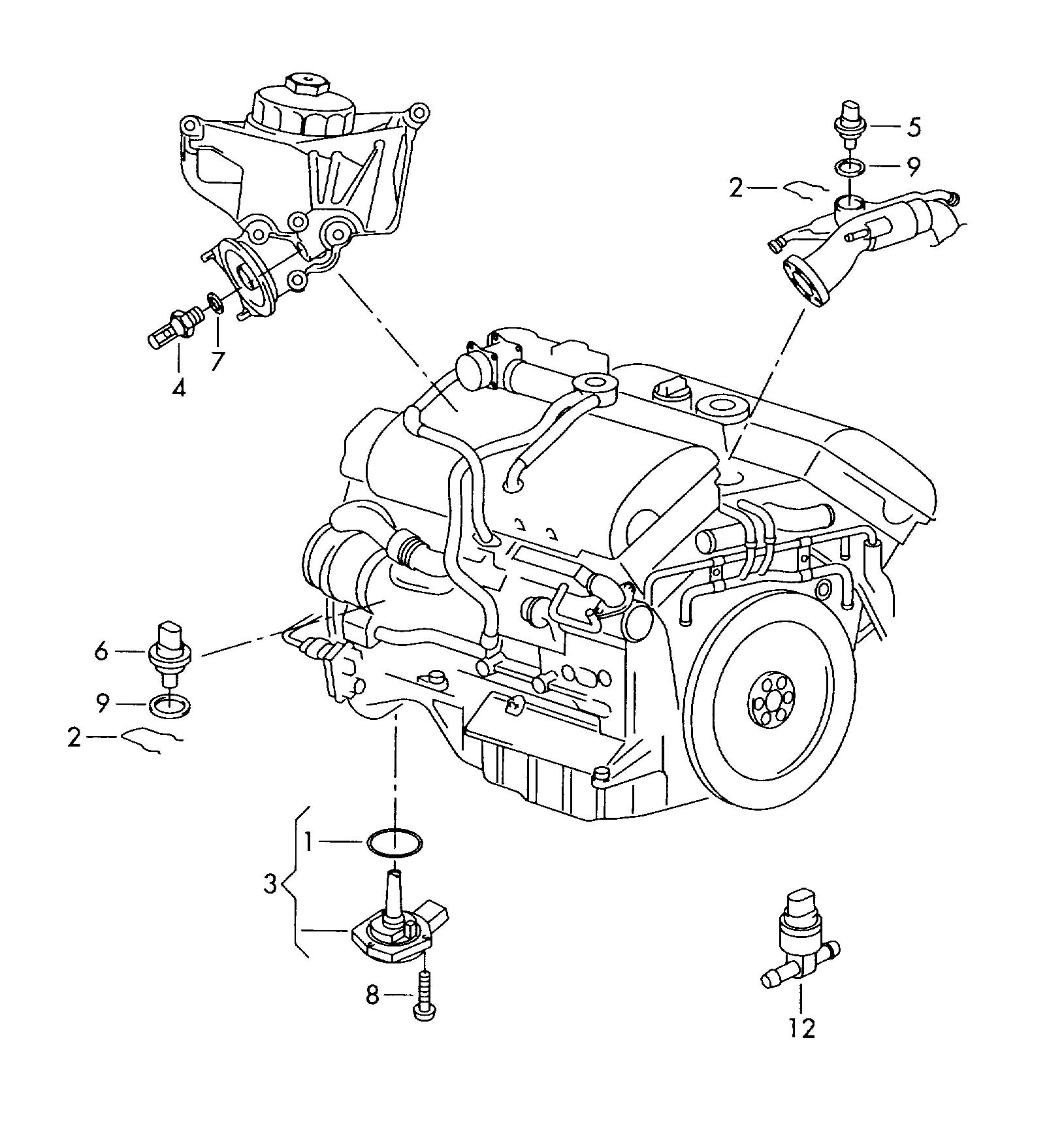 Volkswagen Touareg Switches And Senders On Engine And