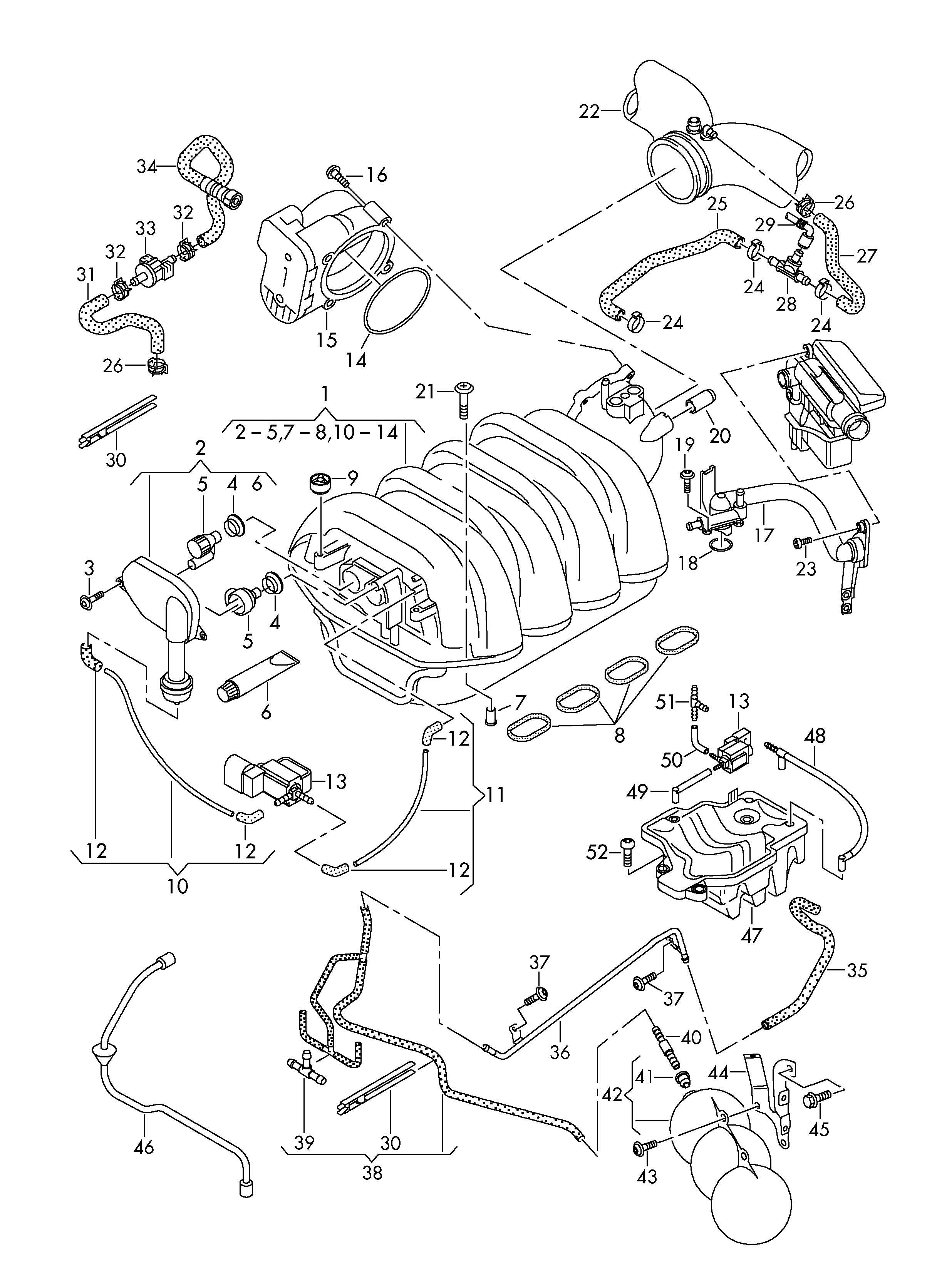 Volkswagen Touareg Intake System Vacuum System