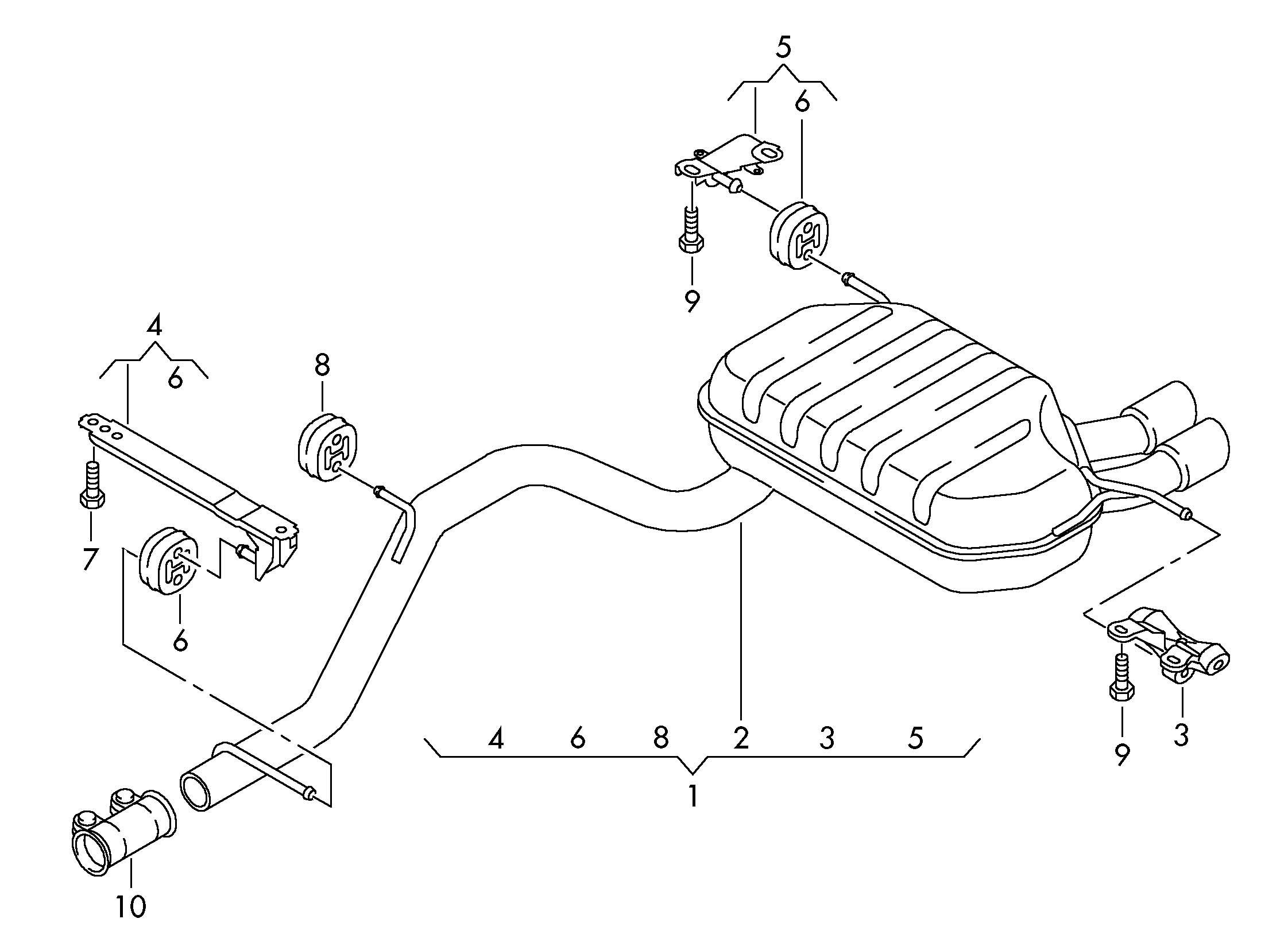 Volkswagen Golf Intermediate Pipe With Muffler 2 0ltr