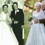 Husband & Wife Wear ORIGINAL Wedding Attire In Touching 60th Anniversary Photos