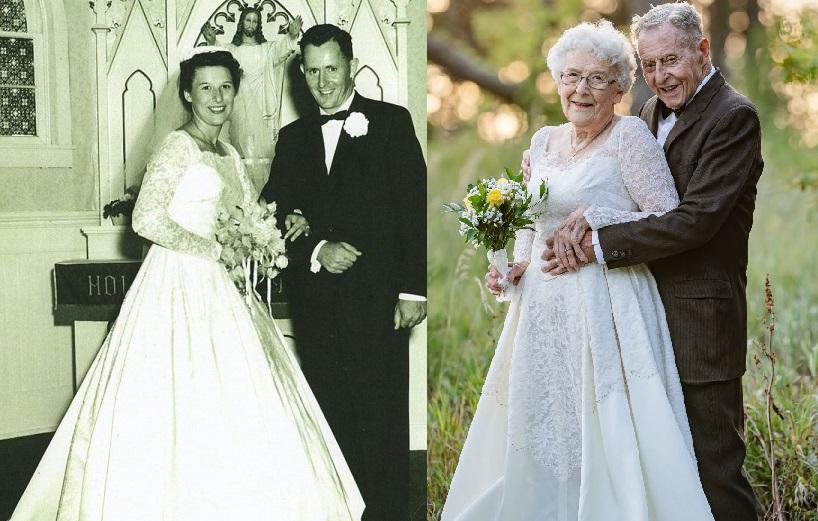 Husband & Wife Wear ORIGINAL Wedding Attire In Touching 60th Anniversary Photos