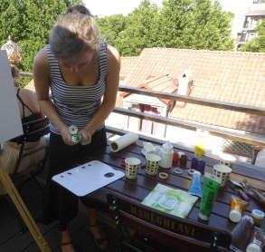 Oksana prepares pallettes for each of us
