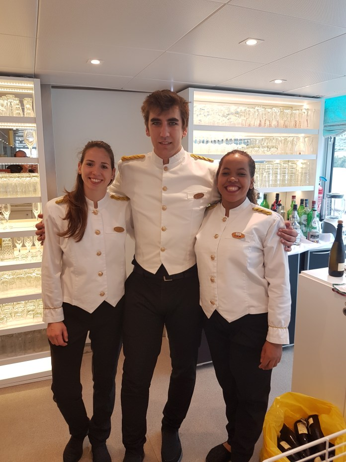 """The bar staff in their uniforms """"de gala,"""" Dulce, Hugo, & Diana, who doubled as my Portuguese instructors."""