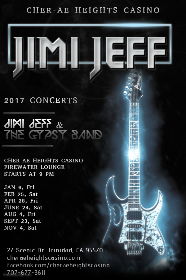 Jimi Jeff & The Gypsy Band at Cher-Ae Heights Casino Fri Apr 28, 2017