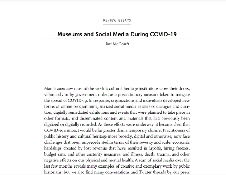 "Screenshot of the first page of ""Museums and Social Media During COVID-19,"" a essay published by Jim McGrath in the November 2020 issue of The Public Historian."