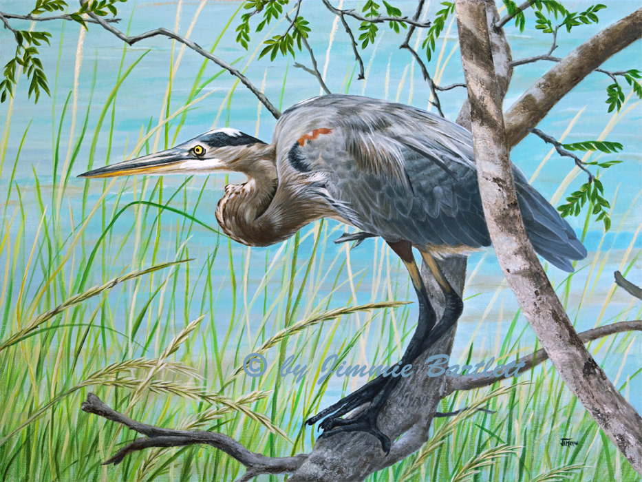 Blue Heron in the Bush original painting