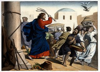 Image result for christ whip money changers