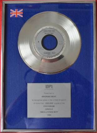 BPI Sales Award Bronski Beat Smalltown Boy Disk