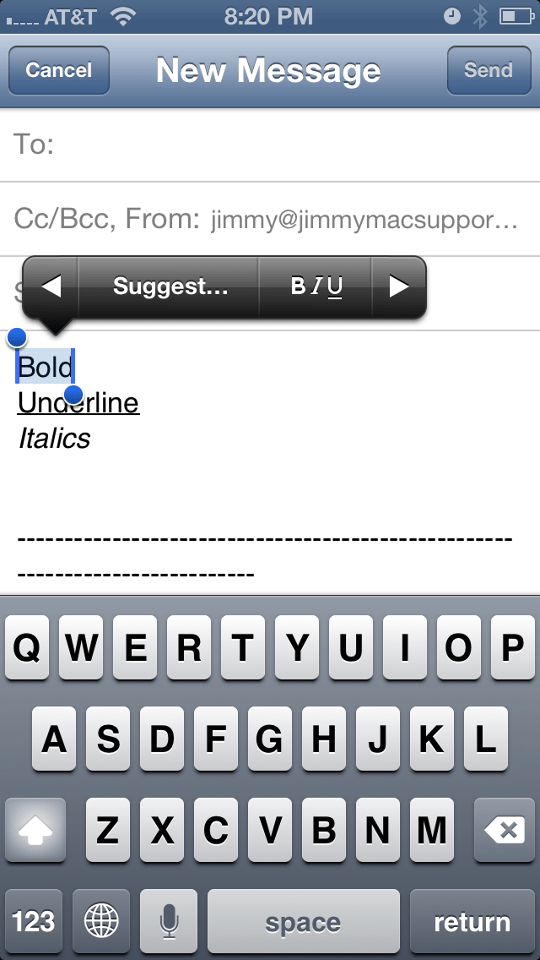 iOS Mail formatting