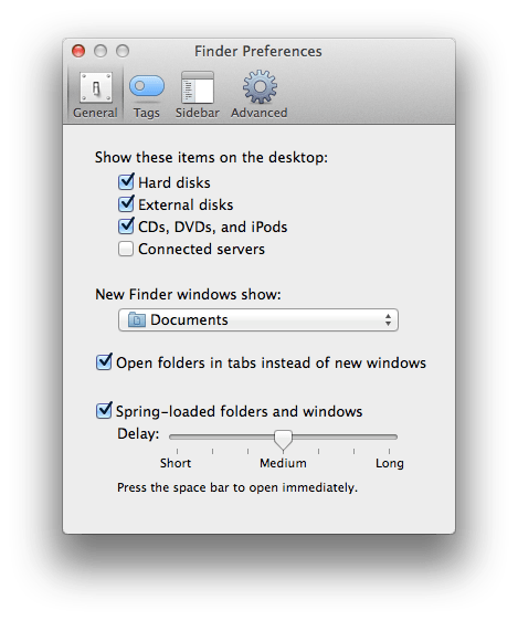 Default Finder window