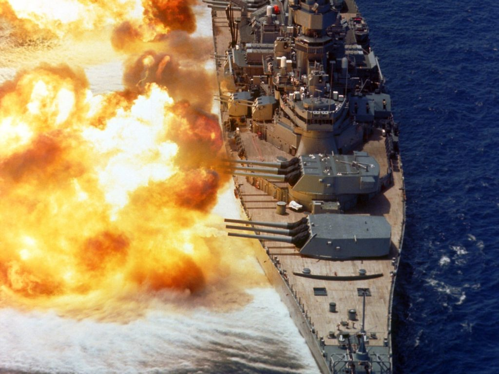 battleship firing guns