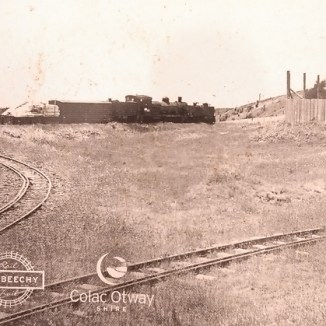 Historical photo of balloon loop used to turn a whole train at Beech Forest