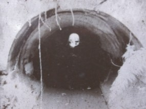 Historical photo of 10 Mile Creek concrete culvert