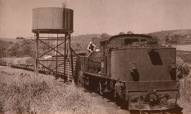 Historical photo of Garrat and train at Dinmont water tank