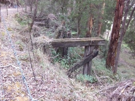 Remains of trestle bridge