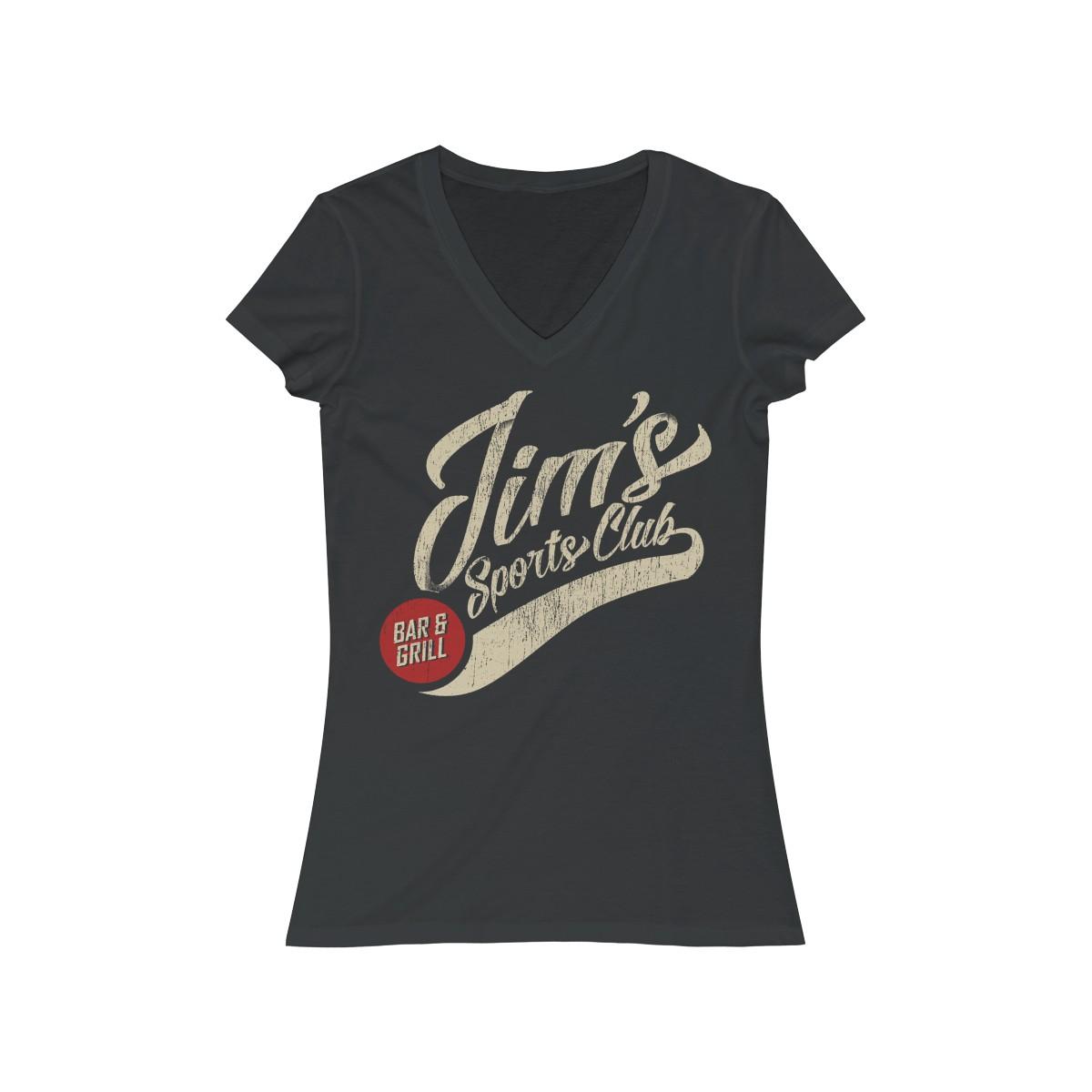 Dark Grey Heather Women's Jersey Short Sleeve V-Neck Tee