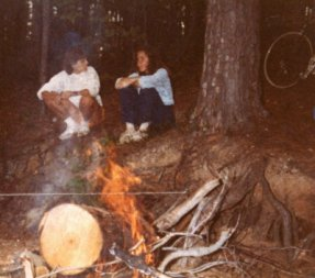 Sandy-Young-at-campsite-on-USC-Bicycle-Touring-Class-overnight-bike-trip-to-Billy-Dreher-State-Park-Spring-1984